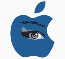 Isee blue apple with an eye vector by Veera Pfaffli