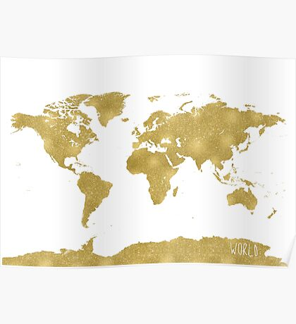 World map Gold B Poster