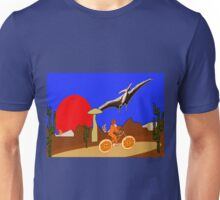 A Pterodactyl and an Orange Bicycle Unisex T-Shirt