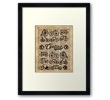 Retro Bicycles Vintage Illustration Dictionary Art Framed Print