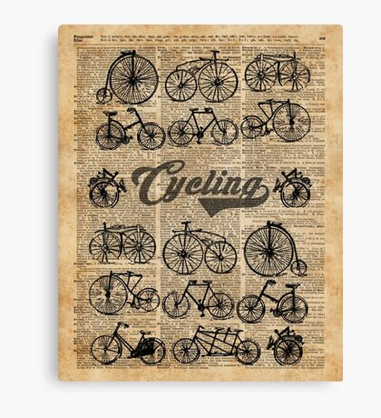 Retro Bicycles Vintage Illustration Dictionary Art Canvas Print