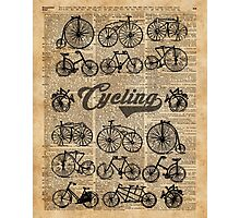 Retro Bicycles Vintage Illustration Dictionary Art Photographic Print