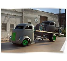1940 Ford COE Roll Back Truck Poster