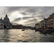 Venice, Italy - Pearly Skies on the Grand Canal Photographic Print