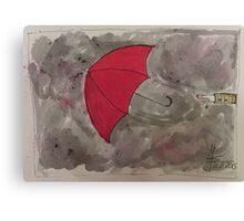 The flying red Umbrella - Der fliegende rote Regenschirm Canvas Print