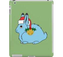 Light Blue Arctic Hare with Red Santa Hat, Holly & Gold Jingle Bell iPad Case/Skin