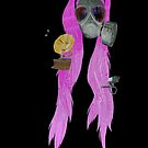 gas mask and pig tails  by IanByfordArt