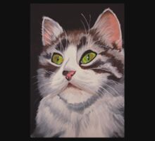 Long Haired Tabby Cat Portrait Kids Tee