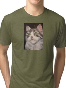 Long Haired Tabby Cat Portrait Tri-blend T-Shirt