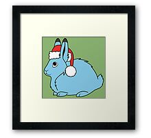 Light Blue Arctic Hare with Christmas Red Santa Hat Framed Print
