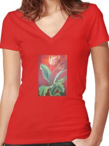 Red and Yellow Tulips Women's Fitted V-Neck T-Shirt