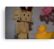 Danbo and the duck... Who do you think is more scared? Canvas Print