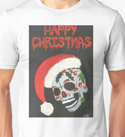 Sugar Skull- Happy Christmas Unisex T-Shirt