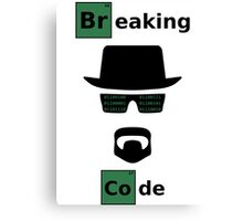 Breaking Code - Black/Green on White Bad Parody Design for Hackers Canvas Print