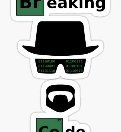 Breaking Code - Black/Green on White Bad Parody Design for Hackers Sticker