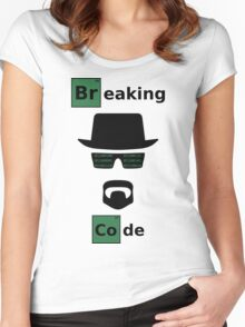 Breaking Code - Black/Green on White Bad Parody Design for Hackers Women's Fitted Scoop T-Shirt