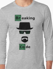 Breaking Code - Black/Green on White Bad Parody Design for Hackers Long Sleeve T-Shirt