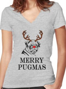 Merry Pugmas Women's Fitted V-Neck T-Shirt