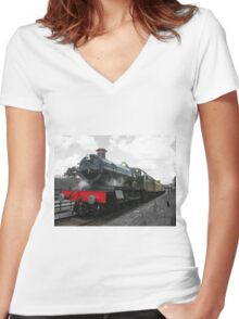 Vintage steam engine railway train Women's Fitted V-Neck T-Shirt