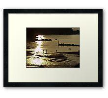 Figures on a Sunset Beach Framed Print