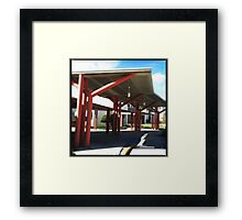 Overhang in red Framed Print
