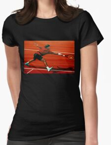 Roger Federer at Roland Garros painting Womens Fitted T-Shirt