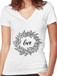 Love Wreath Black Women's Fitted V-Neck T-Shirt