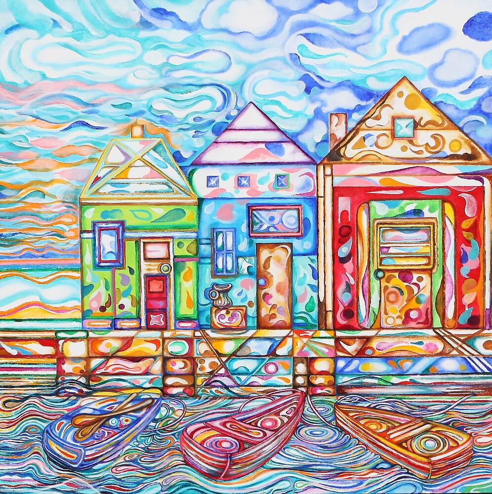 Row Boats Bobbing on Crystal Bay, acrylic by tutuzi22