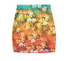 Stunning Peach Blue Poppies Vibrant Floral Design Mini Skirt