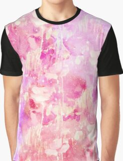 Girly Pink and Purple Painted Sparkly Watercolor Graphic T-Shirt