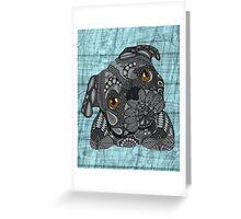 Cute black pug Greeting Card