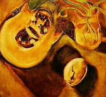 pumpkin, nasturtiums and crocodile egg shell by donnamalone