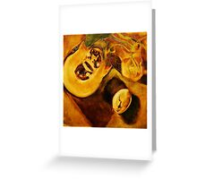 pumpkin, nasturtiums and crocodile egg shell Greeting Card