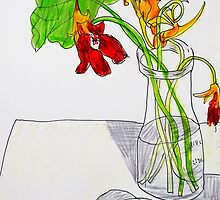 dying Nasturtiums and croc eggshell by donnamalone