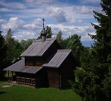 Provincial Russia - Novgorod, Wooden Church by Derek  Rogers