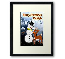 Rudolph and Frosty the Snowman in the Mountains Framed Print