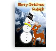 Rudolph and Frosty the Snowman in the Mountains Canvas Print