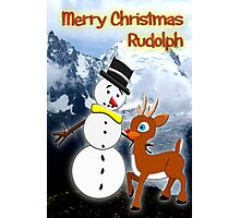 Rudolph and Frosty the Snowman in the Mountains Photographic Print