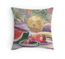 Still Life with Fruit and Pixels  Throw Pillow