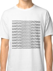 Simple Modern White & Black Swirly Stripes Classic T-Shirt