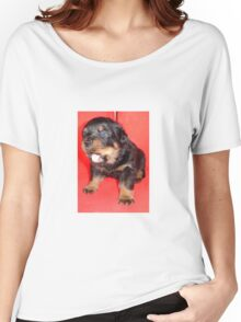 Rottweiler Puppy Howling For Attention Women's Relaxed Fit T-Shirt