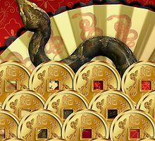 Chinese Year Of The Snake Greeting Card With Coins by Moonlake