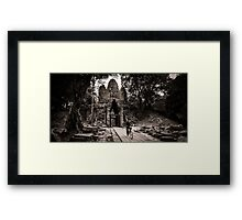 Villager at Angkor Thom West Gate Framed Print