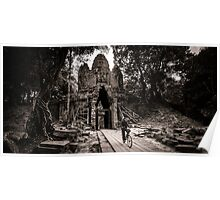 Villager at Angkor Thom West Gate Poster