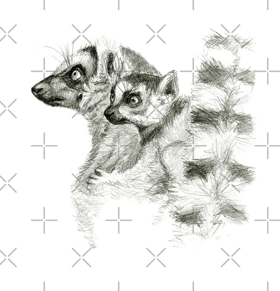 Ring-Tailed Lemur with baby sk015 by schukina by schukinart