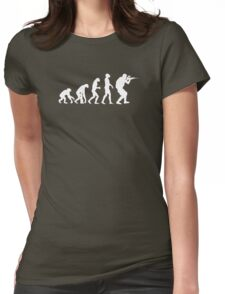 Evolution of ape to airsofter Womens Fitted T-Shirt
