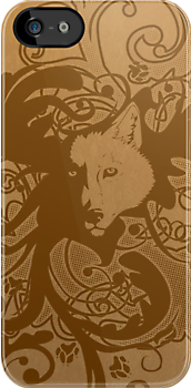 Wolf Floral in Brown by Zhivago