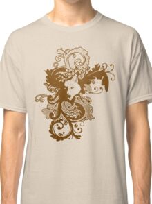 Wolf Floral in Brown Classic T-Shirt