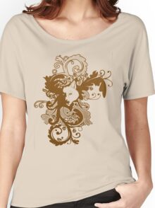 Wolf Floral in Brown Women's Relaxed Fit T-Shirt