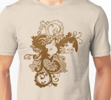Wolf Floral in Brown Unisex T-Shirt